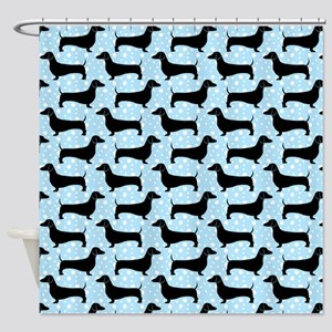Baby Blue Polka Dachshunds Shower Curtain